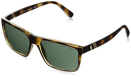 Polo Ralph Lauren Men's Plastic Man Sunglass Non-polarized Iridium Rectangular Sunglasses, MATTE NAVY BLUE, 59 mm