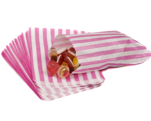 bag it Plastics Pink Candy Stripe Paper Sweet Bags 5″ x 7″ – Pack of 1000