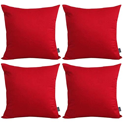 4-Pack Cotton Solid Decorative Throw Pillow Case Square Cushion Cover Pillowcase (Cover Only,No Insert)(18x18 inch/ 45x45cm,Red) (For Red Pillows Couch Sale)