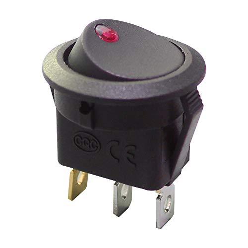 (DaierTek 5Pcs Car Rocker Switch Automotive Round SPST ON Off 3 Pin 6A 250VAC 10A 125VAC with 12V Dot Light (Red))