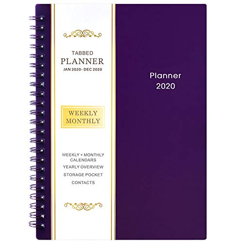 2020 Planner - Weekly & Monthly Planner, 6.25 x 8.3, Flexible Cover,12 Monthly Tabs, 21 Notes Pages, Twin-Wire Binding with Two-Sided Inner Pocket