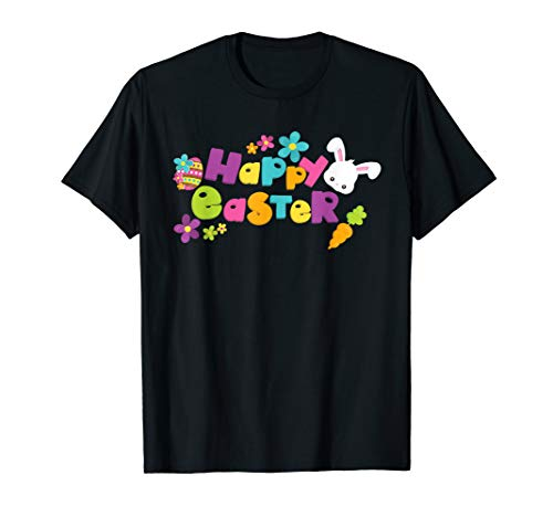 - Happy Easter T-Shirt with Bunnies Eggs Flowers Carrots