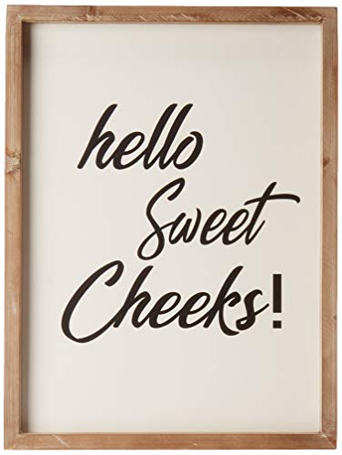 Cam n Honey Funny Rustic Wooden Bathroom Sign-Hello Sweet Cheeks Farmhouse Home Decor-12x16 inches Wood Framed Wall Hanging Quote Sign (Signs Bathroom Wooden)