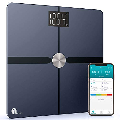 1byone Smart Bathroom Body Scale - Body Fat Scale with APP to Monitor 8 Essential Measurements, ITO Conductive Glass, FDA Approved Body Composition Analyzer Wireless BMI Weight Scale - Black