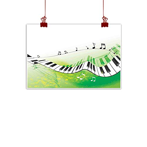 warmfamily Outdoor Nature Inspiration Poster Wilderness Music Decor,Music Piano Keys Curvy Fingerboard Summertime Entertainment Flourish 32