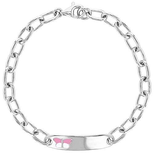 925 Sterling Silver Tag ID Bracelet Pink Enamel Butterfly for Girls 6