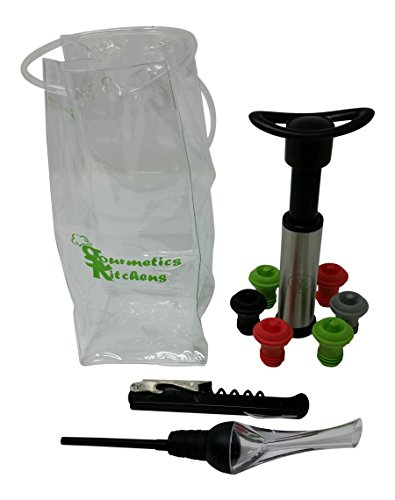 Wine Accessories Kit – Gift Set Includes Bottle Opener, Wine Aerator, Wine Saver Vacuum Pump, 6 Sealers, and an Ice Bag.