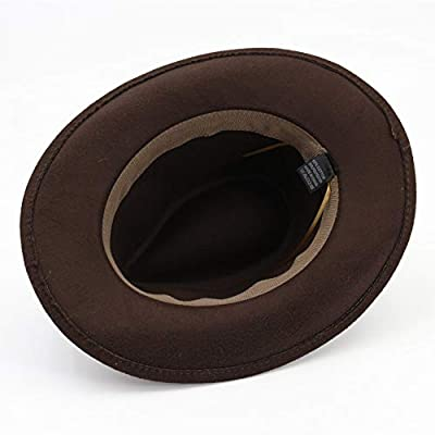 Fange Men&Women's Woolen Wide Brim Fedora Hat Classic Jazz Cap with Leather Belt Buckle Decoration