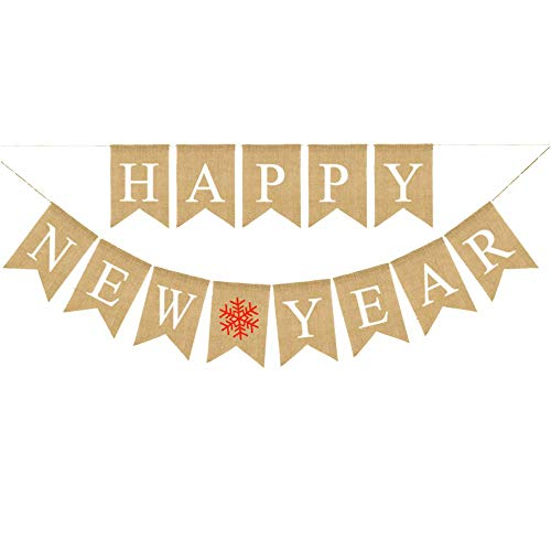 Happy New Year Banner Burlap Vintage Happy New Year Holiday Bunting Garland Decorations 2019 New Years Eve Party Banner Party Decorations