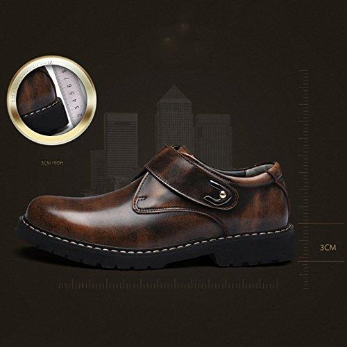 Jeunesse Chaussures Mode Hommes Décontracté en Saisons Grey Extérieur Cuir Angleterre LYZGF Velcro FROq0Ox