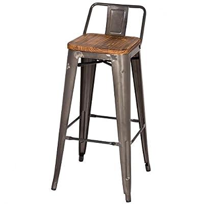 """MC Low Back Counter Stool Wood Seat 26"""" Gunmetal, Set of 4"""