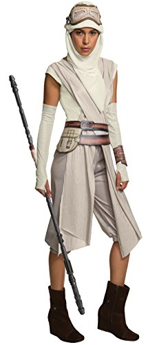Star Wars Rubie's Women's Vii: The Force Awakens Deluxe Rey Costume and Staff Bundle