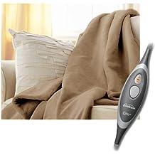 Sunbeam Microplush Electric Heated Throw Blanket in Mushroom Beige