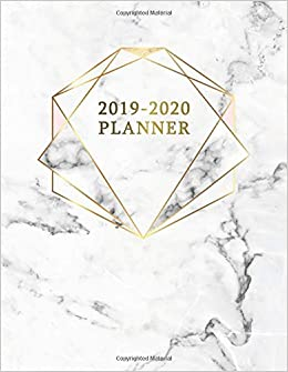 2019-2020 Planner: Pretty Marble & Gold Daily Weekly Monthly ...