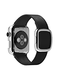 Apple Watch Band Pinhen Modern Magnetic Buckle Strap iwatch Genuine Leather Sport Watch Band Wrist Strap Bracelet For Apple Watch (38MM Black)