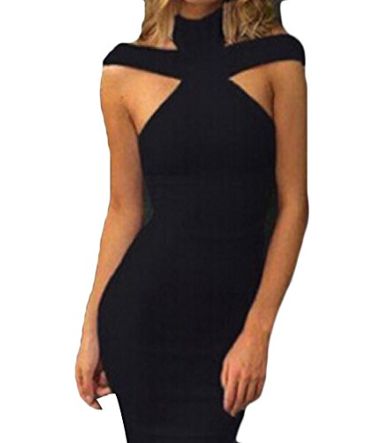 Fit Coolred Black Mid Women Dress Sleeveless Halter Neck Color Sexy Solid pZO0rvqxZw