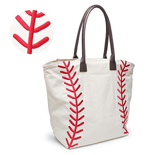 (YIQIGO Baseball Bag Handbag for Woman Shopping Bag Travel Bag Canvas Casual Bag with Polyester Linning Sports Bag (Embroidered))