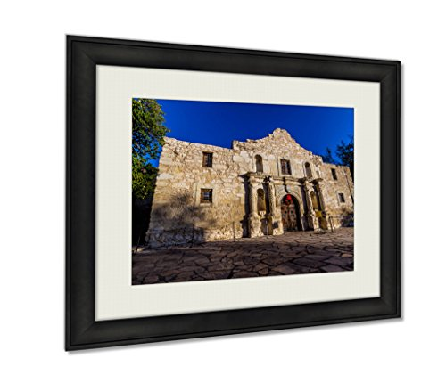 Ashley Framed Prints Interesting Perspective Of The Historic Alamo San Antonio Texas Wall Art Decor Giclee Photo Print In Black Wood Frame, Soft White Matte, Ready to hang 16x20 - Pictures In Of Antonio The San Texas Alamo