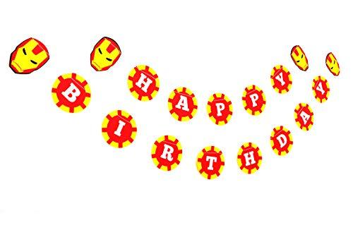 Birthday Banner Super Hero (Ironman Superhero Birthday Banner-Happy Birthday Banner,Birthday Decorations,Party Decorations,Party décor,Creative Decoration) (Ironman Birthday Party Decoration)