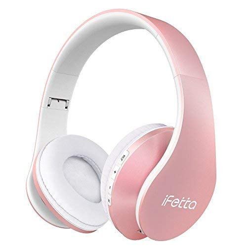 Ifecco Bluetooth Headphones, 4 in 1 Upgrade Bluetooth Foldable Over-Ear Headsets with Micro Support SD/TF Card for Bluetooth-Enabled Devices (Rose - Pink Micro Headset