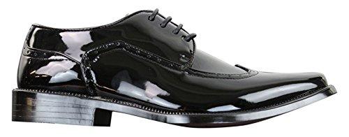 Classique Mens Black Brogue Shoes Patent Shiny Classic Gatsby 1920's Vintage Retro Black 10 -
