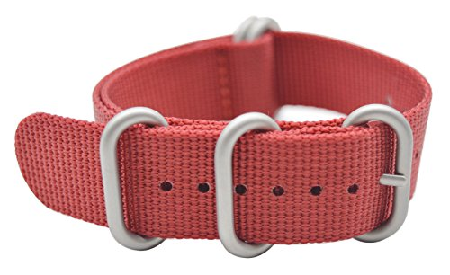 ArtStyle Watch Band with 1.5mm Thickness Quality Nylon Strap and Heavy Duty Brushed Buckle (Red, 18mm)