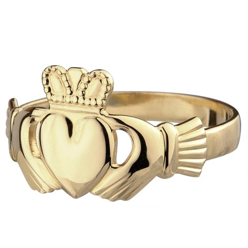 Mens Claddagh Thick Ring 10K Gold Irish Made 13.5