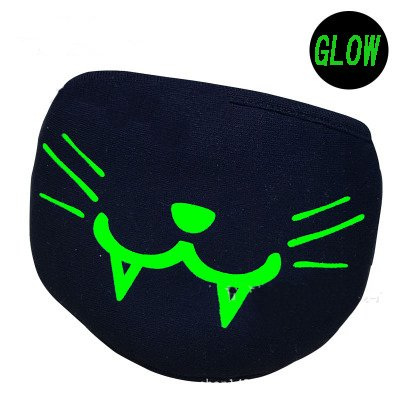 Glow in the Dark Cotton Masks Cute Bear and Demon Half Mouth 3D Face Mask Anti Dust Muffle Face Mouth Mask for Cycling Party (Cat)