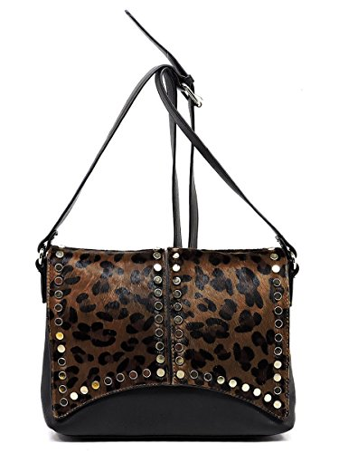 Elphis Leopard Calf Hair Top Flap Satchel Crossbody Bag Handbag Purse (Black) by Elphis