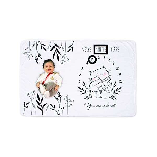Baby Monthly Milestone Blanket Boy & Girl with Unique Mom and Baby Design, Double-Sided, Large 60×40, Fleece 260 GSM, Original Meow-Stone Blanket with Chalkboard Photo Prop Set, Cute