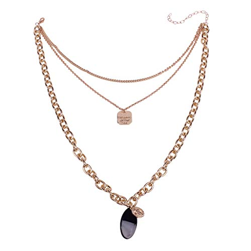 - Ladies Fashion Oval Jewelry Multi-Layer Pendant Fashion Simple European and American Necklace Wild By Lmtime(Gold)
