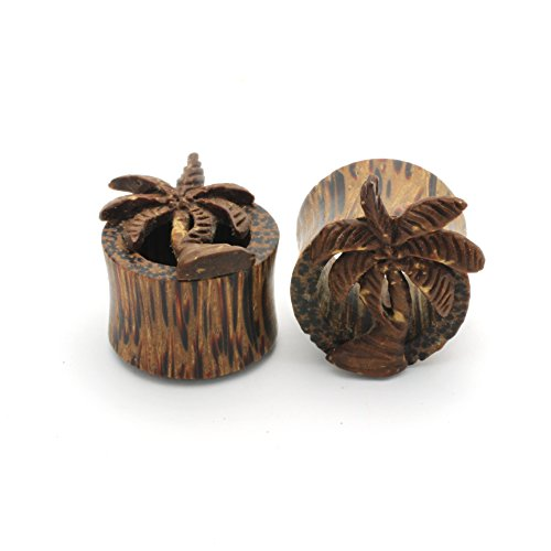 Wood Palm Tree Plugs Double Flare Tunnel Organic Wood Ear Plug Gauges Body Piercing (0G (8 MM)) ()