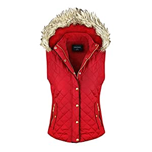 makeitmint Women's Quilted Padding Jacket Vest With Faux Fur Hood Medium YJV0004_04RED