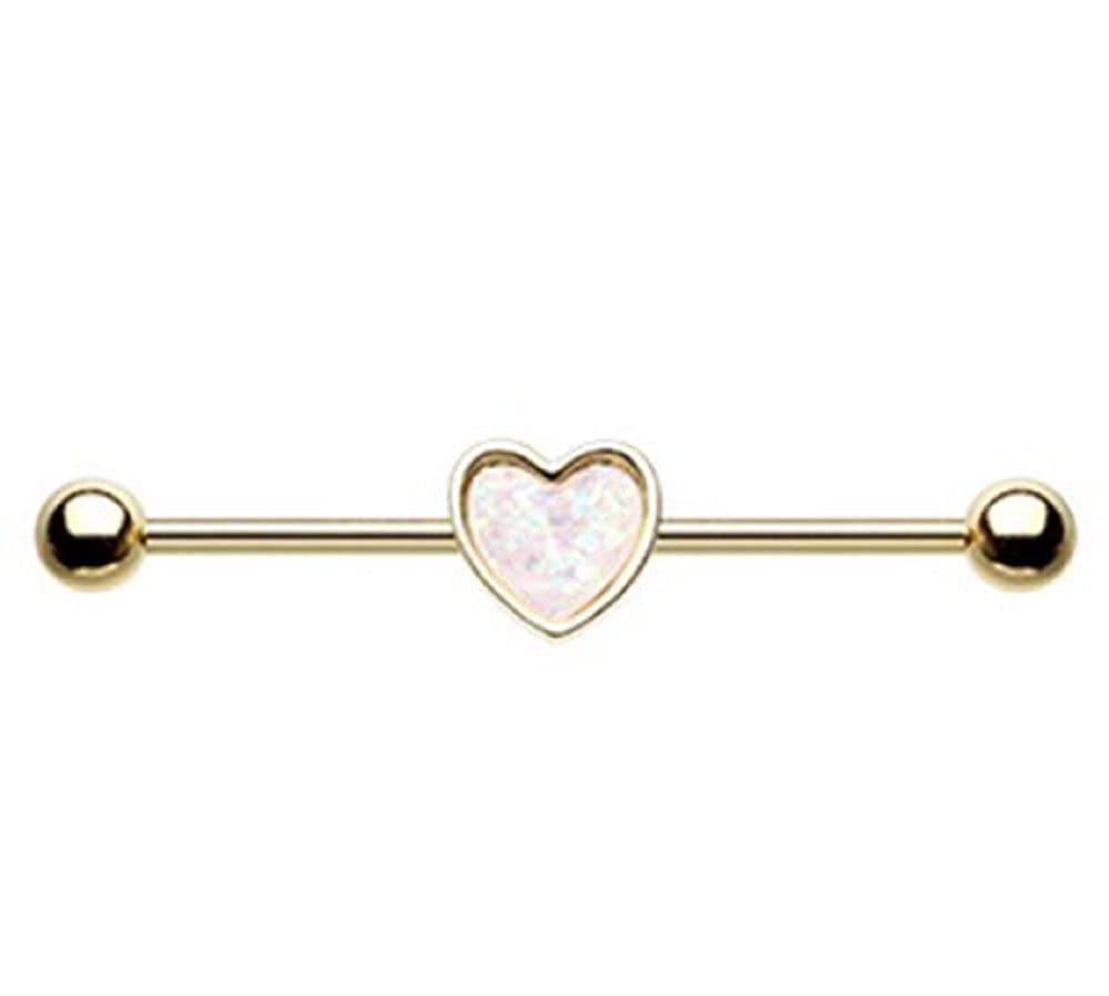 Golden Simple Opal Heart Inlay Industrial Freedom Fashion Barbell Sold by Piece