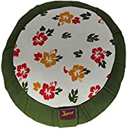 Yogavni, Deluxe Round Cotton Filled Zafu Cushion with Smooth Silk Jacquard Cover