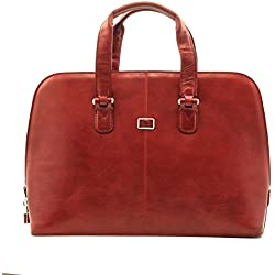 Tony Perotti Womens Italian Bull Leather Italian Bull Leather Classic Zip-Around Leather Laptop Tote Bag in Red