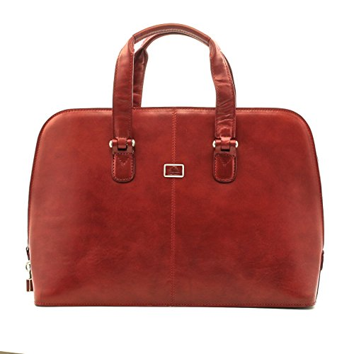Luggage Depot USA, LLC Women's Tony Perotti Italian Leather Zip-Around Laptop Business Brief Shoulder Bag, Red, One Size
