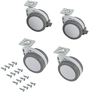 Emuca 2037921 Ruedas pivotantes grises para mueble - 80mm con placa de montaje y rodamiento de