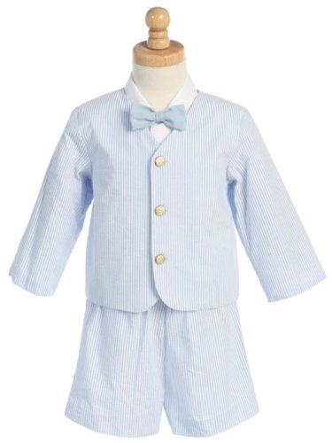 Made in USA-Lito Eton Seersucker Suit w/Jacket, Shorts, Shirt, Bowtie-White w/Blue Stripes Medium ()