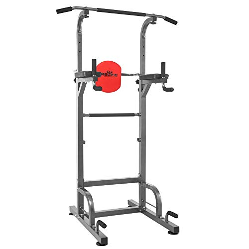 RELIFE REBUILD YOUR LIFE Power Tower Workout Dip Station for Home Gym Strength Training Fitness Equipment -