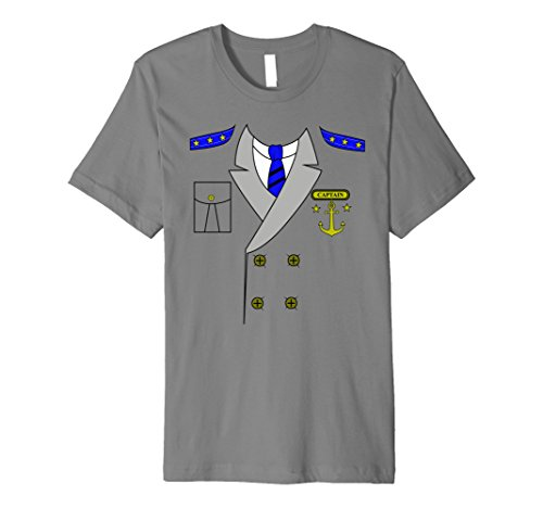 Mens Boat Captain Uniform Costume T-Shirt | Halloween Shirt Large Slate