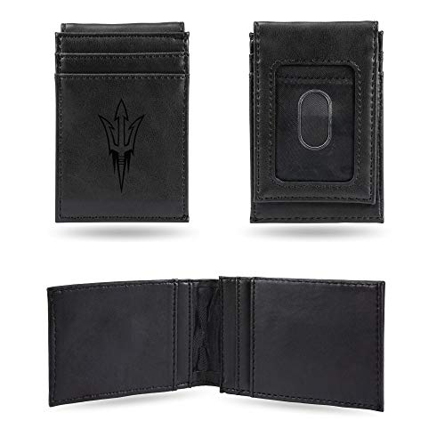 Rico Industries NCAA Arizona State Sun Devils Laser Engraved Front Pocket Wallet, Black