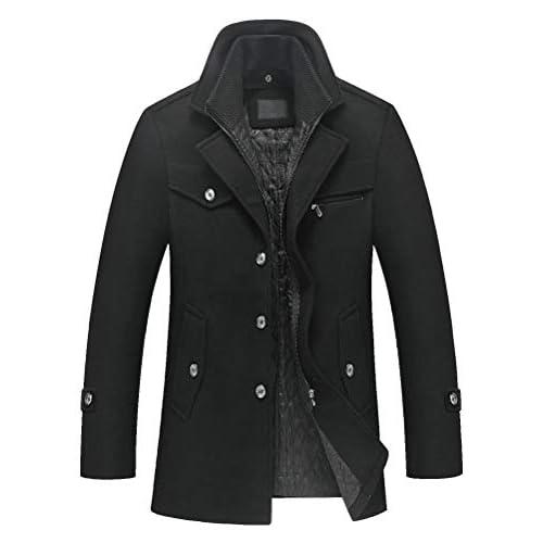 41IjqgPKtwL. SS500 Abrigo de invierno clásico para hombre con cuello alto y varios bolsillos. Chaqueta de manga larga con cierre de botón, diseño sencillo y elegante. 50% Lana, 50% Poliéster