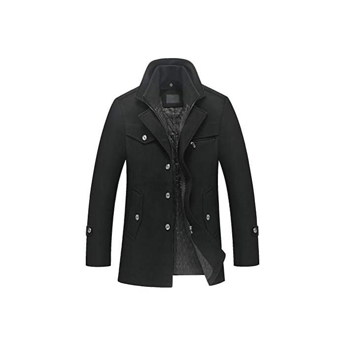 41IjqgPKtwL Abrigo de invierno clásico para hombre con cuello alto y varios bolsillos. Chaqueta de manga larga con cierre de botón, diseño sencillo y elegante. 50% Lana, 50% Poliéster