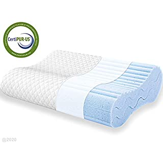POLAR SLEEP Contour Memory Foam Pillow, Adjustable Sandwich Pillow, Orthopedic Ergonomic Cervical Pillow, Neck Support, CertiPUR-US