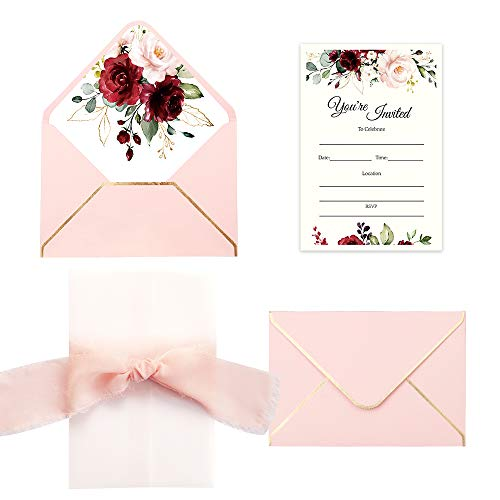 Doris Home 250 GSM 5 x7.3 inch Invitations Cards with Envelopes and Printed Inner Sheets for Bridal Shower,Wedding CW0020 (Pink Burgundy, 25pcs) (Cute Invitation Cards)
