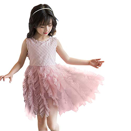 Muzboo Little Girl Sleeveless Tutu Princess Dress Party Beauty Pageant Dress Birthday Gift(Pink-5-6T) ()