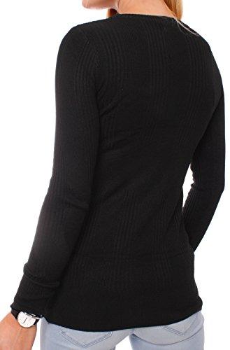 Fragola Moda - Cárdigan - Rebeca - para mujer negro