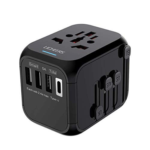 Universal Travel Adapter,International Power Adapter with Auto Resetting Fuse 5A 3 USB and 1 Type-C Port Wall Charger AC Power Plug Adapter for EU AUS Germany Japan Covers 200+ Countries(Black) (4s Iphone Conversion Color)