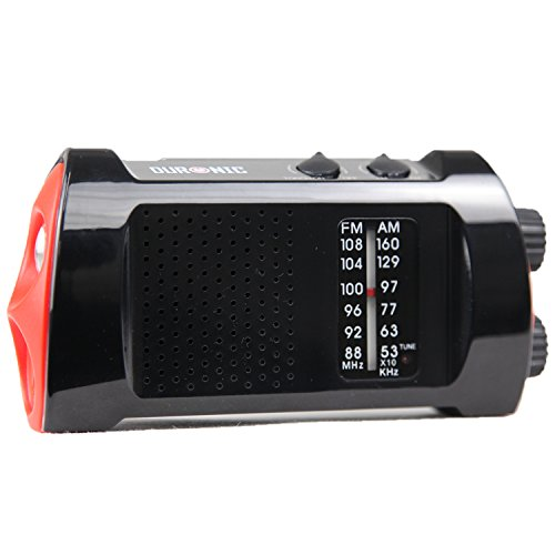 Duronic Ecohand Wind-Up, Rechargeable AM\FM Radio with fl...